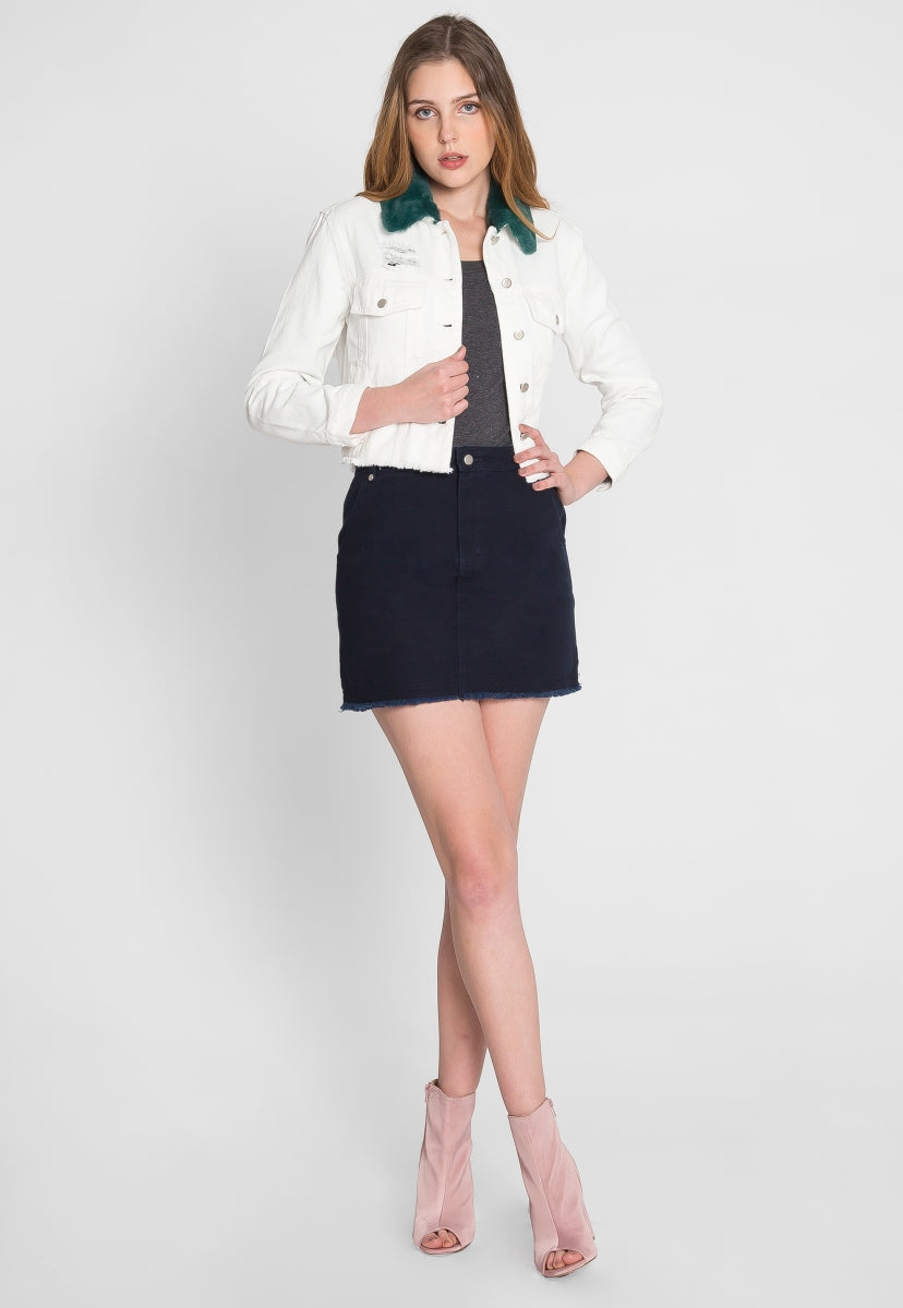 Hail Faux Fur Collar Luxe Denim Jacket - Jackets & Coats - Wetseal
