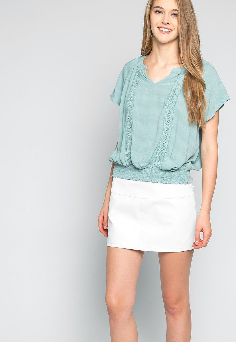 Florence Peasant Blouse in Green - Shirts & Blouses - Wetseal