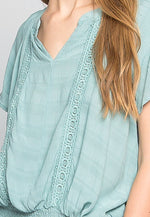 Florence Peasant Blouse in Green