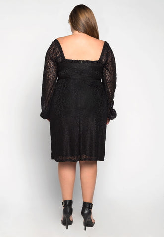Plus Size Rosalie Lace Dress in Black