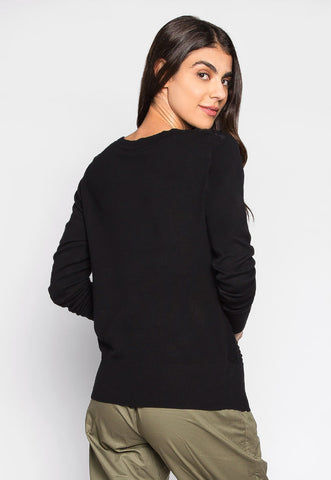 Katherine Button Up Textured Cardigan in Black