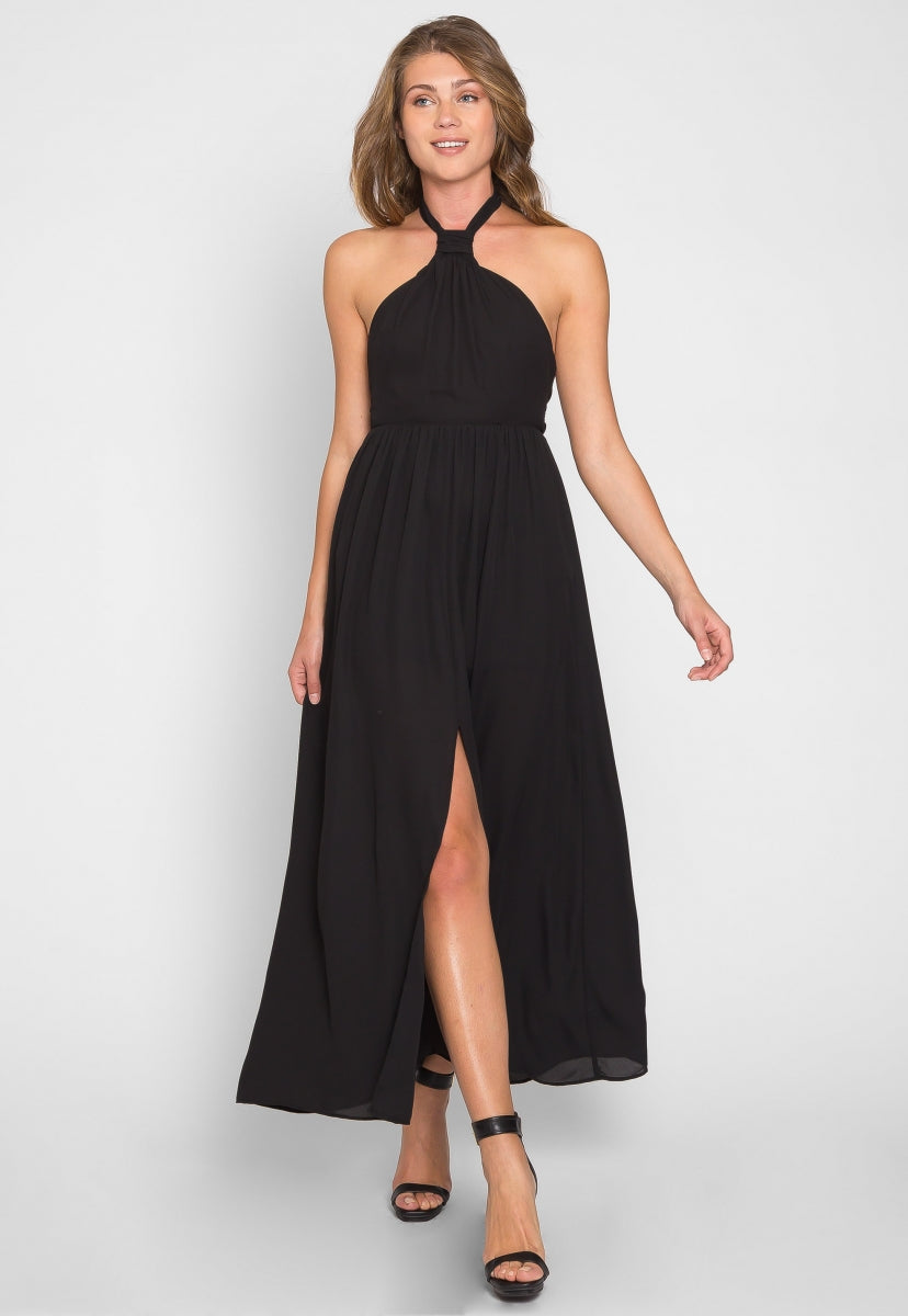 Goddess Halter Knit Maxi Dress - Dresses - Wetseal