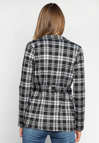Set Your Goals Plaid Belted Blazer