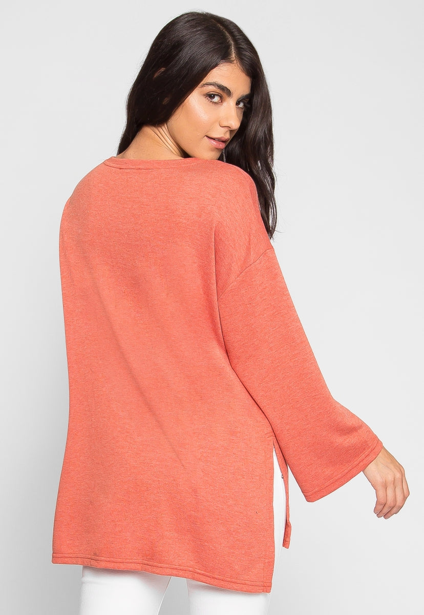 Football Oversized Sweater in Rust - Sweaters & Sweatshirts - Wetseal