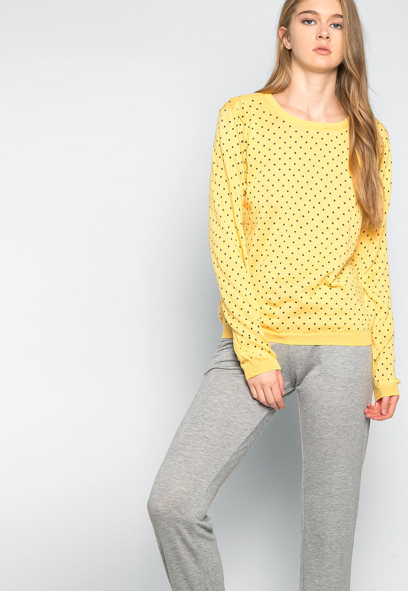 Watermelon Polka Dot Sweater in Yellow - Sweaters & Sweatshirts - Wetseal
