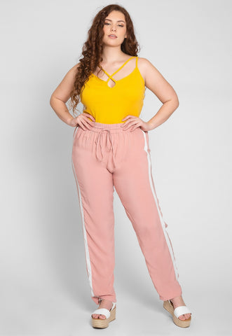 Plus Size Side Stripe Knit Pants in Blush