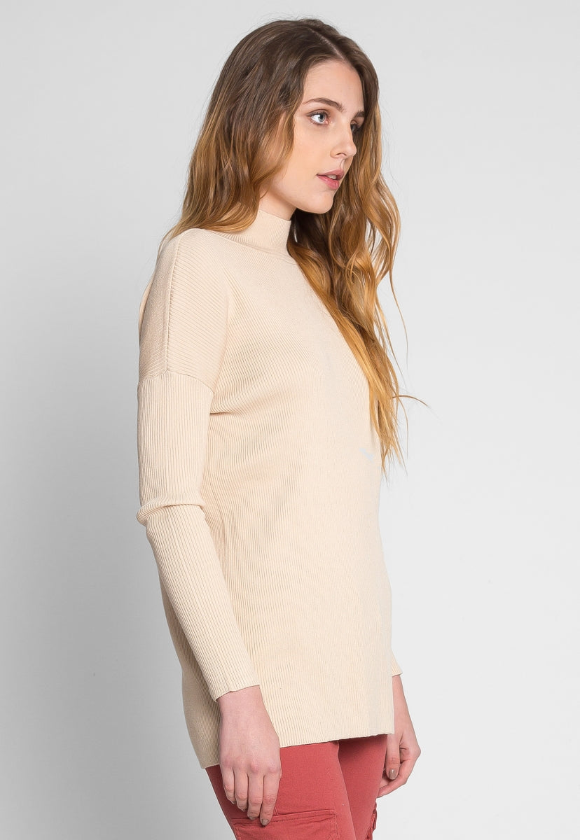Rib Knit Turtleneck Top in Beige - Shirts & Blouses - Wetseal