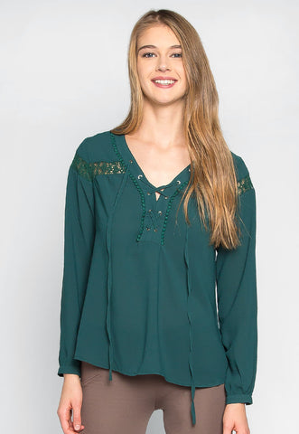 Elizabeth Lace Up Chiffon Blouse