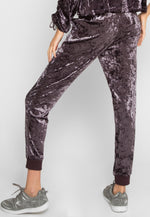 Chill Crushed Velvet Joggers in Purple