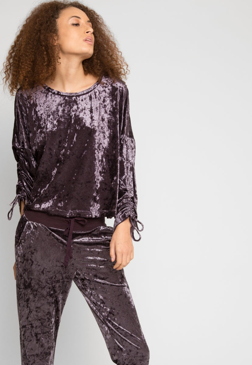 Chill Crushed Velvet Joggers in Purple - Pants - Wetseal