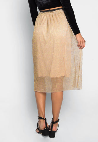 Treasure Metallic Midi Skirt