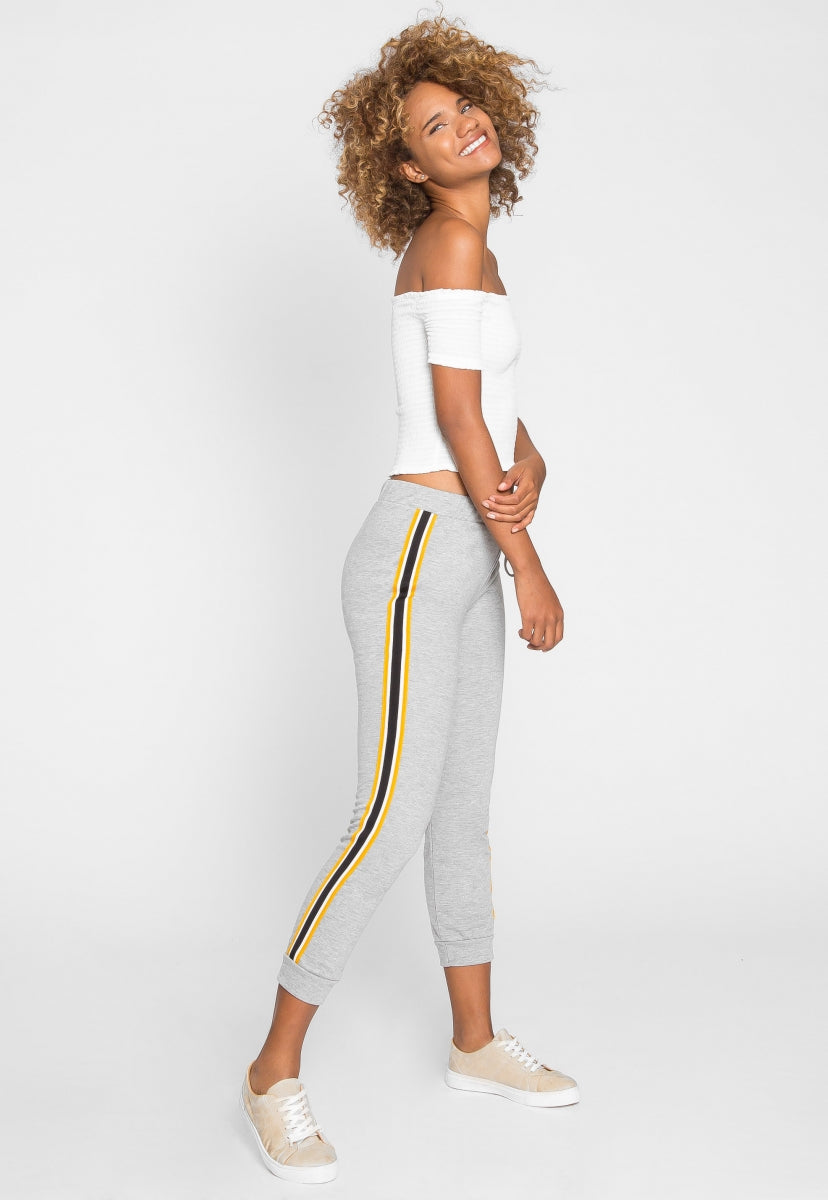 Luck Active Side Tape Joggers in Gray - Pants - Wetseal