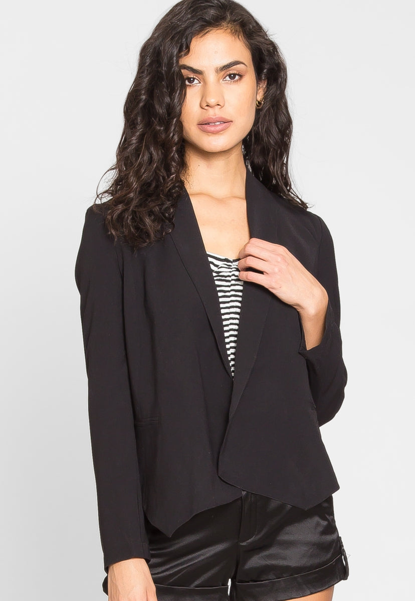 Work Hard Crop Shawl Collar Blazer - Jackets & Coats - Wetseal