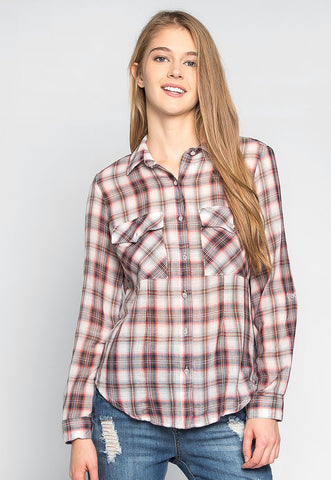 Stay Away Flap Pockets Plaid Shirt