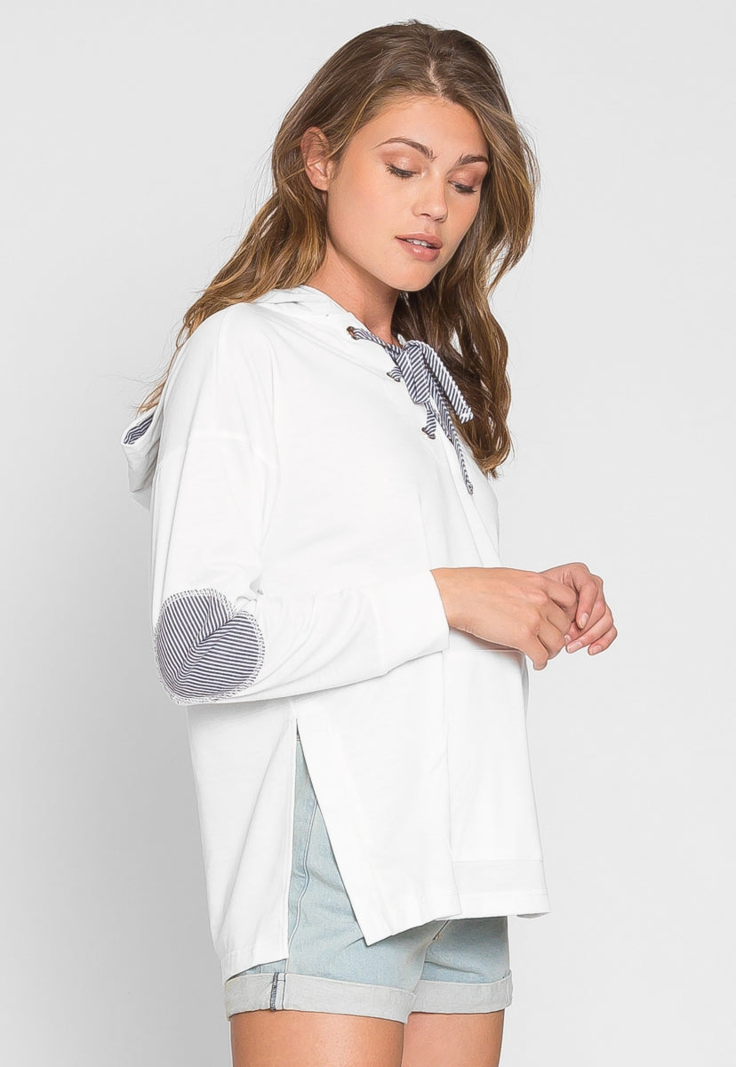 Vines Elbow Patch Lace Up Hoodie - Sweaters & Sweatshirts - Wetseal
