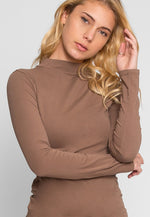 Sue Mock Neck Long Sleeve Top in Mocha