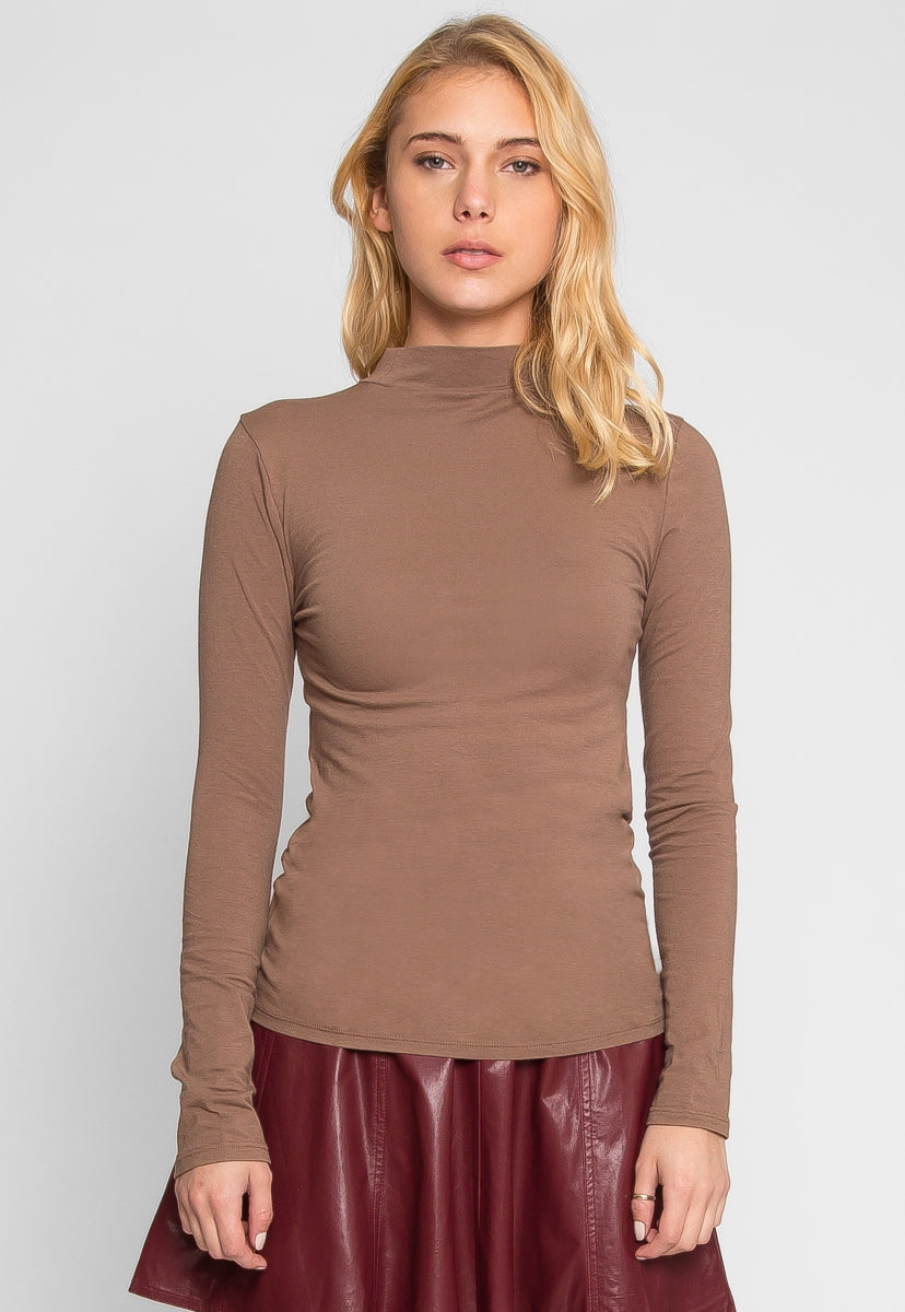 Sue Mock Neck Long Sleeve Top in Mocha - T-shirts - Wetseal