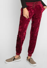 Chill Crushed Velvet Joggers in Red