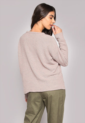 Teddy Bear Tie Sleeves Dipped Hem Sweater
