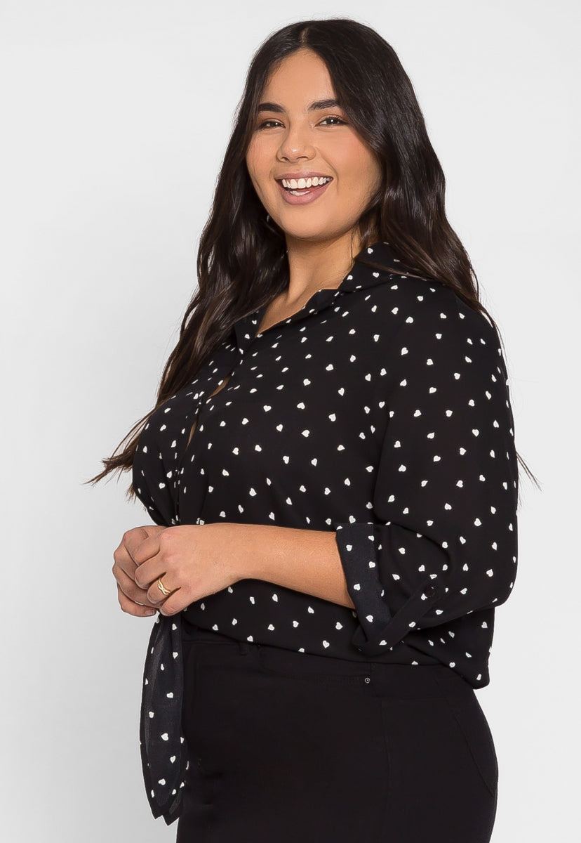 Plus Size Hearts Button Up Shirt in Black - Plus Tops - Wetseal
