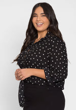 Plus Size Hearts Button Up Shirt in Black