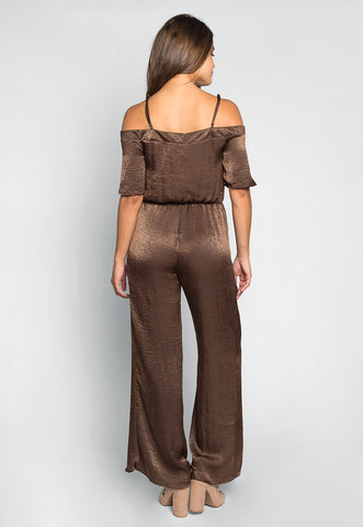 Having Fun Satin Jumpsuit in Mocha