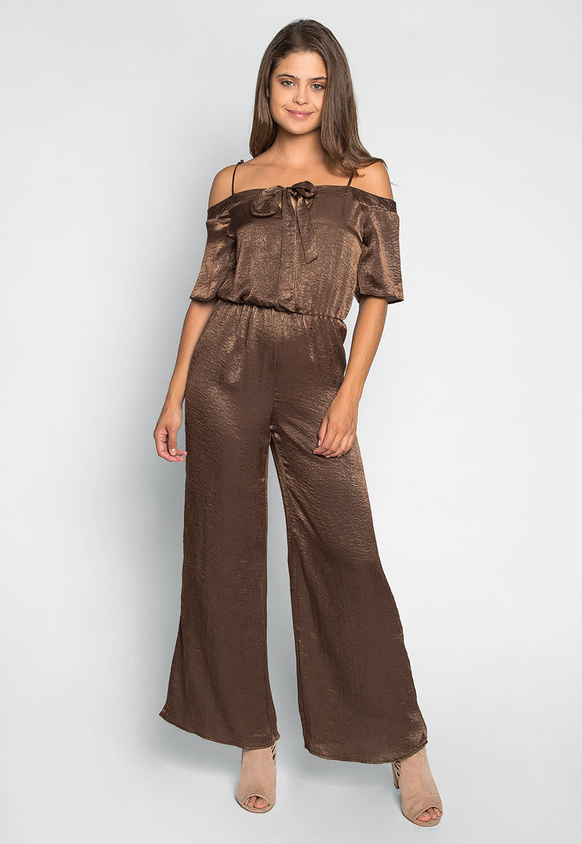 Having Fun Satin Jumpsuit in Mocha - Rompers & Jumpsuits - Wetseal