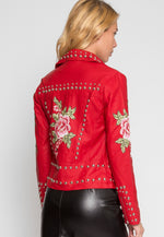 Rush Applique Leather Jacket in Red