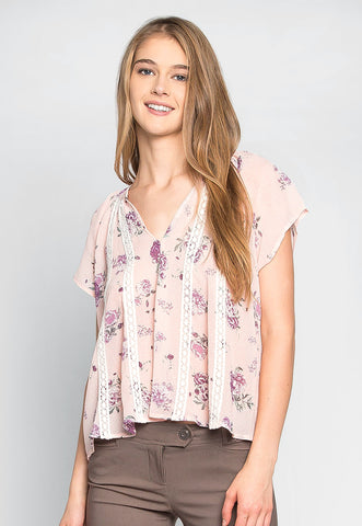 Tea Time Floral Sheer Blouse in Light Pink