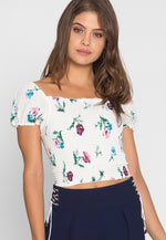 Gardenia Floral Smock Top in Off White