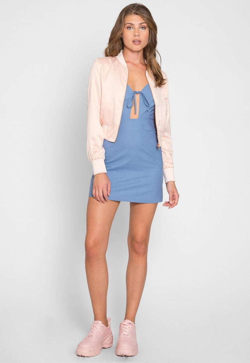 Cotton Candy Satin Crop Bomber Jacket - Jackets & Coats - Wetseal