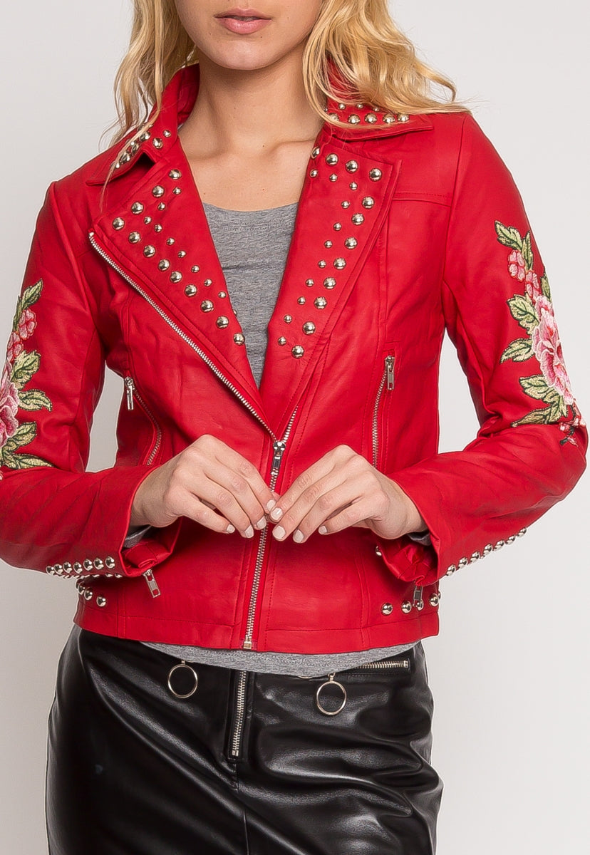Rush Applique Leather Jacket in Red - Jackets & Coats - Wetseal