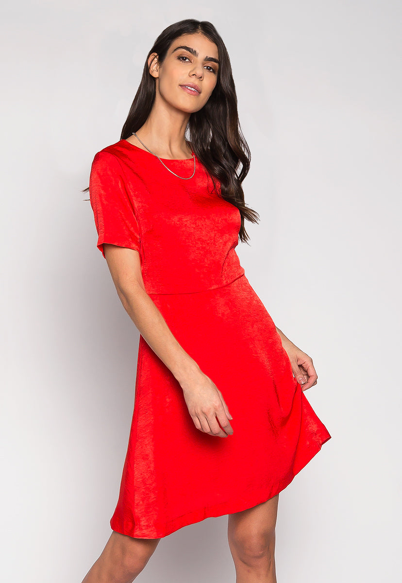 When in Doubt Wear Red Mini Dress With Necklace - Dresses - Wetseal