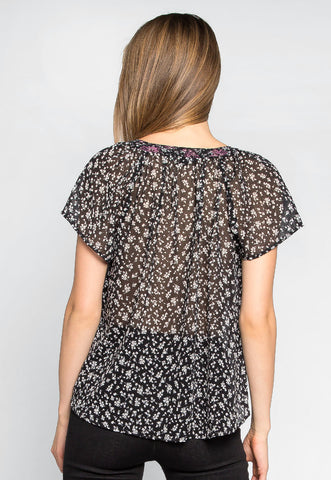 Tea Time Floral Sheer Blouse in Black