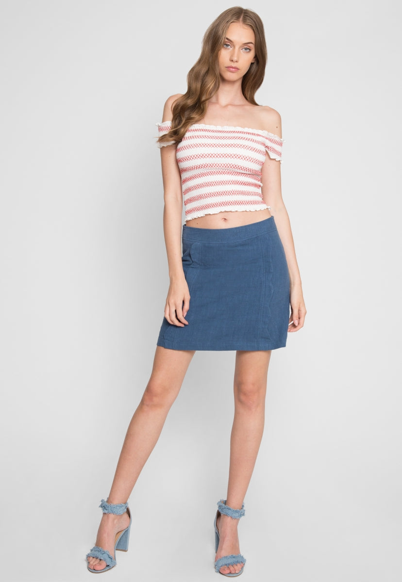 Sicily Scallop Skirt in Teal - Skirts - Wetseal