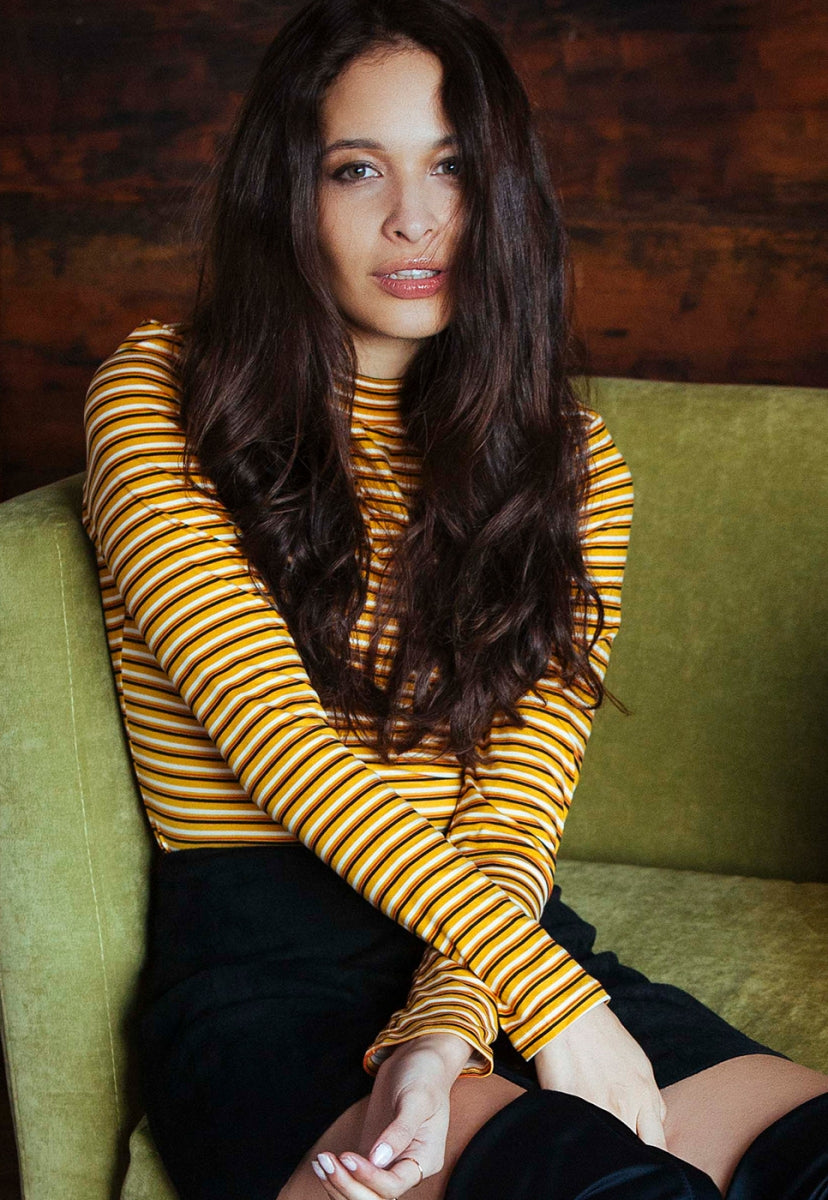 Throwback Multi Stripe Knit Top in Mustard - Shirts & Blouses - Wetseal