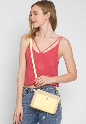 Double Zip Straw Crossbody Bag in Yellow