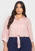 Plus Size Hearts Button Up Shirt in Pink