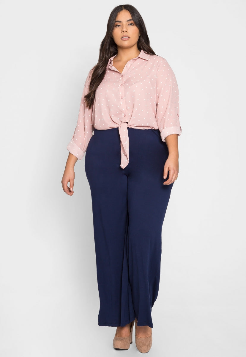 Plus Size Hearts Button Up Shirt in Pink - Plus Tops - Wetseal