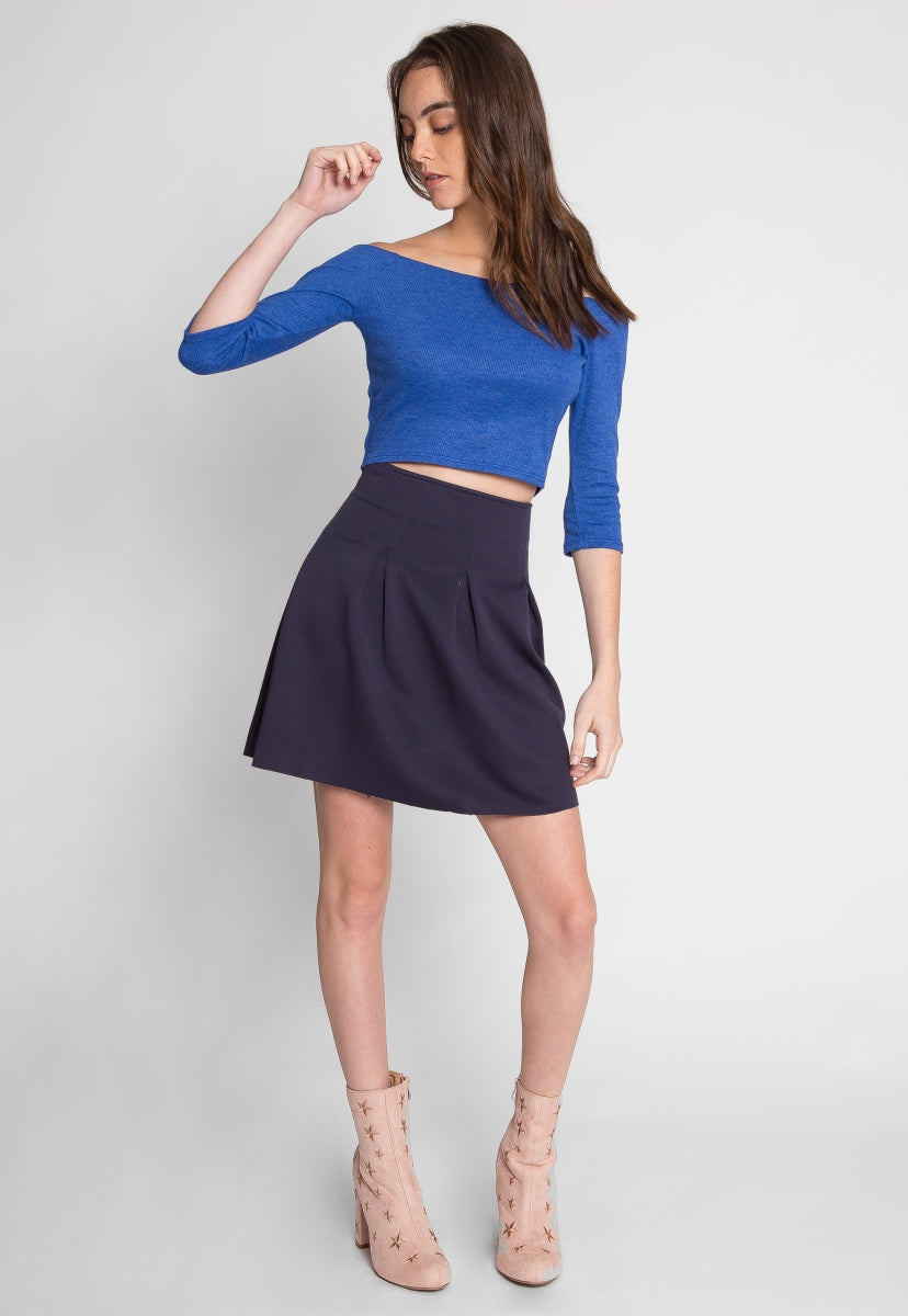 Games Off Shoulder Crop Top in Blue - Crop Tops - Wetseal