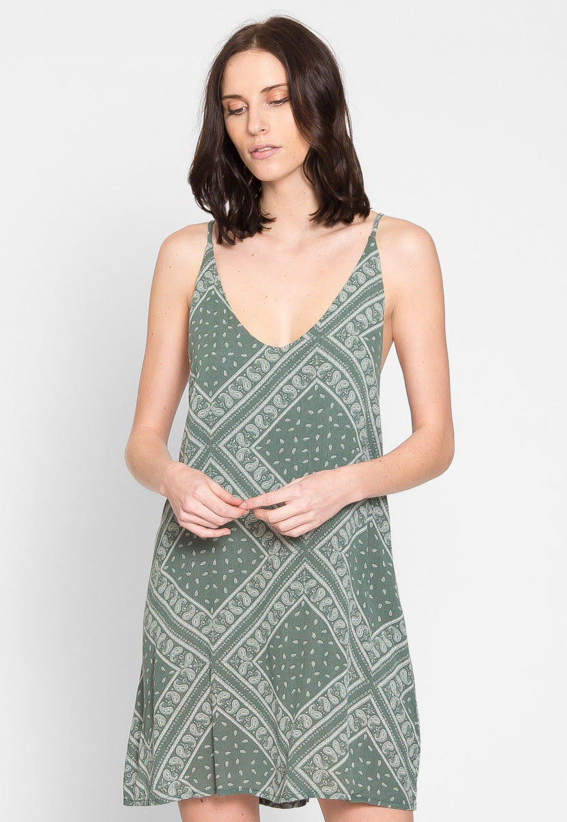 Bandit Bandana Dress in Olive - Dresses - Wetseal