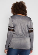 Plus Size University Raglan Sleeve Top in Gray