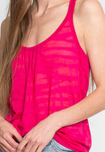 Inferno Knit Tank Top in Fuchsia