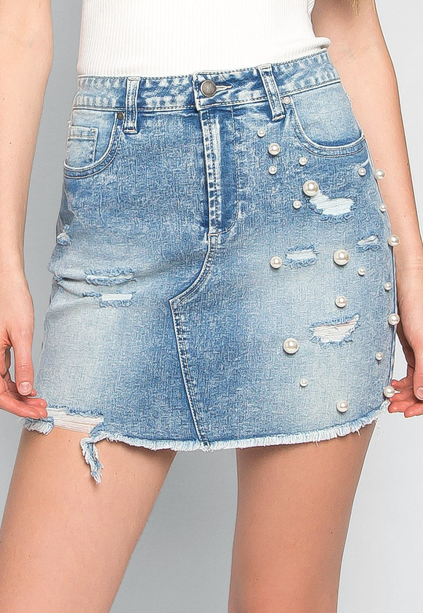 Electric Soul Faux Pearls Mini Skirt - Skirts - Wetseal