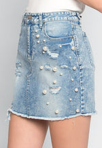 Electric Soul Faux Pearls Mini Skirt