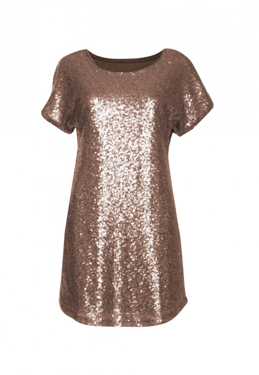 Party Girl Sequined Dress in Brown - Dresses - Wetseal