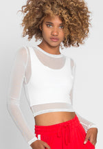 Flash Overlay Mesh Crop Top