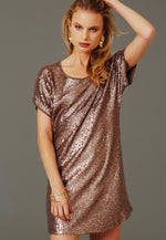 Party Girl Sequined Dress in Brown