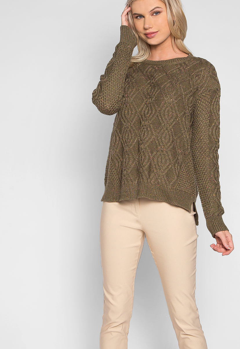 Confetti Cable Knit Sweater in Olive - Sweaters & Sweatshirts - Wetseal