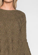 Confetti Cable Knit Sweater in Olive